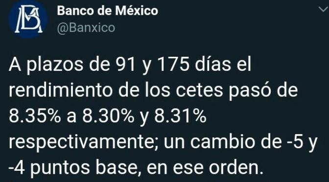 Banxico informa sobre resultados de subasta.