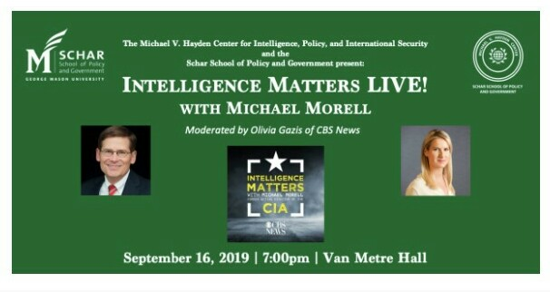 Intelligence Matters LIVE! with Michael Morell Tickets, Mon, Sep 16, 2019 at 7:00 PM | Eventbrite