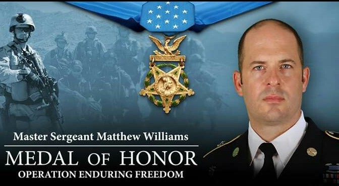 Master Sgt. Matthew Williams is presented the Medal of Honor at The White House during a ceremony.  #ServeWithHonor #MOH #ArmyValues  3rd Special Forces Group-Airborne