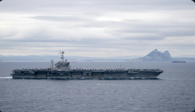 Strait of Gibraltar. Rock of Gibraltar. USS Harry S. Truman. 5 Dec 2019.   Sent by MCS 2C Scott Swofford